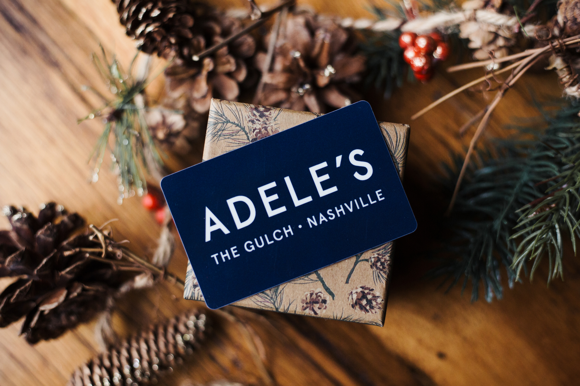 Adele's Gift Cards in a gift box