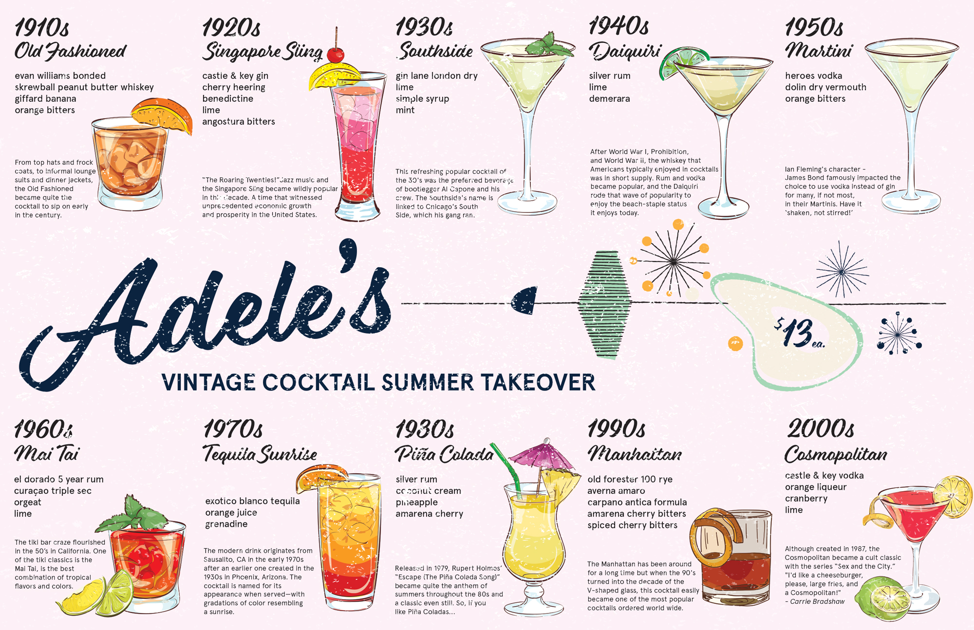Adele's Vintage Cocktail Summer Takeover Menu